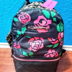NWT Betsey Johnson floral& leopard print backpack